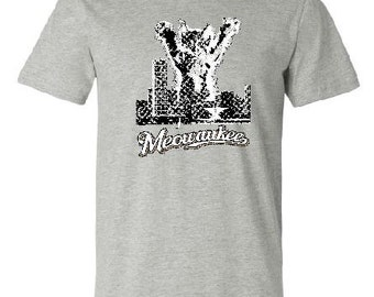 MEOWAUKEE T-Shirt, Athletic Heather, Cotton, 414, Milwaukee WI, funny
