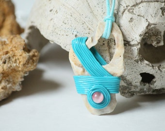 Handcrafted Seashell and Turquoise Polymer Clay Pendant Necklace (Item #37)