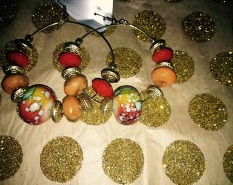 Group colored hoop earrings
