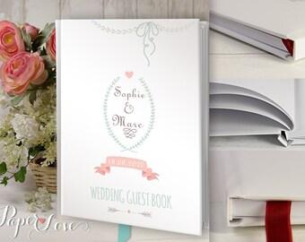 Laurel Floral Heart Knot Date Banner Rustic Wedding Flowers Wedding Guest Book Custom Guest Book Wedding Guestbook Rustic Wedding Floral