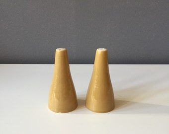 Vintage Mid Century Modern Tapered Ochre Yellow / Charteuse Salt + Pepper Shakers
