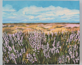 North Yorkshire Heather, Original Acrylic Landscape Painting on Canvas, 25cm x 30cm