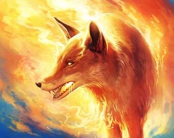 Fire Fox - Signed Art Print - Fantasy Painting by Jonas Jödicke