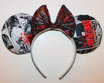 "Handmade ""The Walking Dead"" inspired Mouse ears headband"