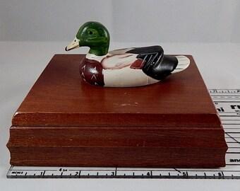 Albert E. Price Inc. 1981 Decoy Duck Card Holder Box, Decoy Duck Box, Wooden Duck Box