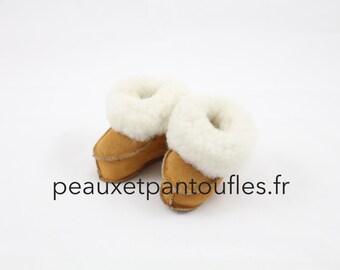 Slippers Sheepskin baby - by peauxetpantoufles.fr