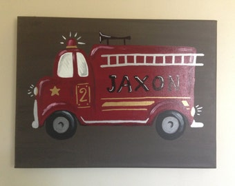 12x16 inch nursery canvas, firetruck personalized with name, brown background