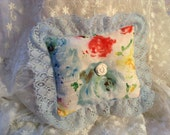 Lavender Scented Lace Decorative Pillow, Sachet Pillow, Vintage Lace Trimmed, Cottage Chic Accent Pillow, Handmade Bedroom Accent