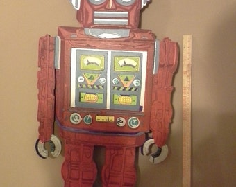 Mr. Roboto     decorative wall art original Ooak