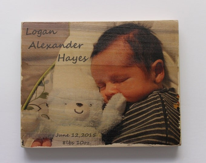 Personalized 8 x 10 Inch Wood Photo Panel - Your Photos on Wood!