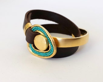 Wrapped Bracelet Gold Turquoise Bracelet Leather And Matte Gold plated Pewter With Small metal turquoise Chain