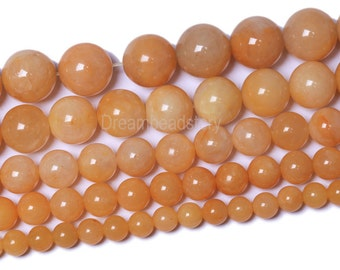 Yellow Jade Beads, Natural Jade Beads, Undyed Round Smooth Yellow Jade Beads, 6mm 8mm 10mm 12mm Old Jade Strands for Jewlery Making (B108)
