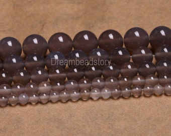 Gray Agate Beads, Smooth Round Natural Gray Agate Stone Beads, Gray Gemstone Beads, 4 6 8 10 12 14mm Agate Beads Strand Supplies Wholesale