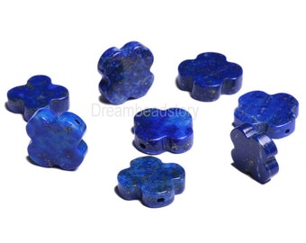 Flower Beads, Four Leaved Clover Beads, Cute Flower Shape Loose Beads, Natural Lapis Lazuli Spacer Beads for DIY Handmade Jewelry Making