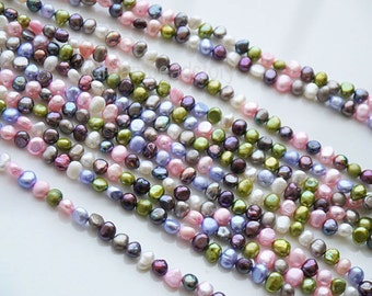 Multi Color Pearl Beads, Pastel Pearls, Colorful Pearls, Pearl Jewelry Making Beads, 5-6mm  8-9mm Baroque Pearls, Cultivated Pearls (ZZ4/14)