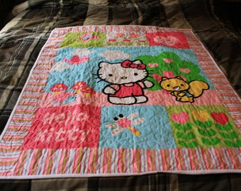 Pink Hello Kitty baby quilt