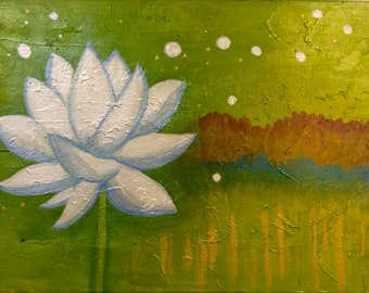 Lotus Flower Abstract Painting Canvas 12 x 16 Acrylic
