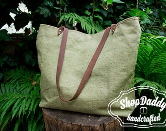 Canvas Bag,  Leather Handles, Tote Bag, Summer Tote, Every Day Bag