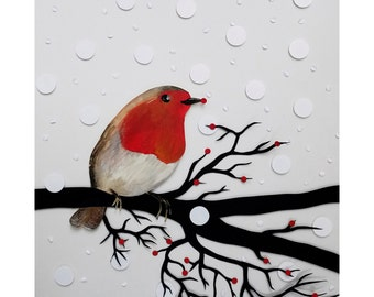 ROBIN bird Papercut Print different size