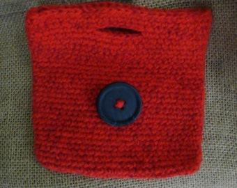 handmade crocheted red pouch