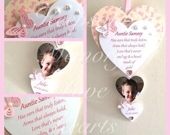 Aunty Gift personaliesd wooden keepsake heart