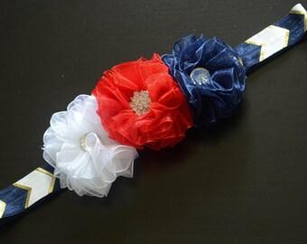 Three Flower Patriotic Baby Headband, sheer flower headband, flower headband, baby headband, newborn headband, red white blue headband