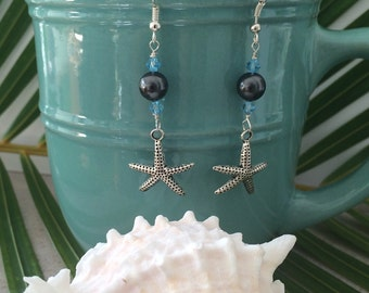 Black awarovski pearls with starfish earrings