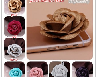 2pcs 60x60mm leather camellia flower bead diy hair accessories handmade materials jewelry supplies