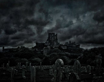 "A dark and eerie Black and White fine art photographic Giclée print of Corfe Castle and Corfe cemetery. ""Bones and Stones."""