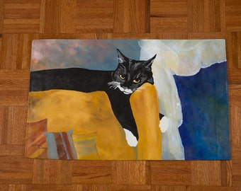 Hand Painted Floor Cloth Mat - Lounging Cat