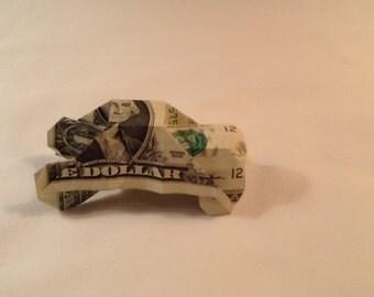 Original Dollar Bill Origami Folded Paper Car