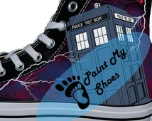 Doctor Who, Tardis, Hand painted shoes, Galaxy, converse, tv shoes, free shipping in the US