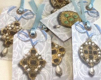 6 Antique Jewelry Gift/Thank You Tags