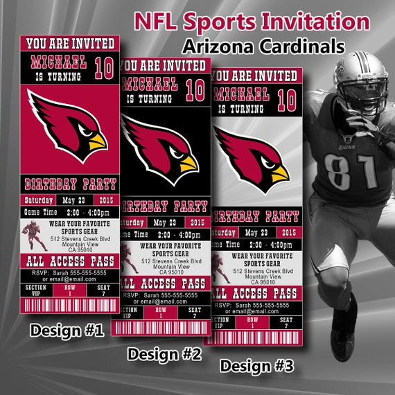 Arizona Cardinals Birthday Invitation Football Ticket By