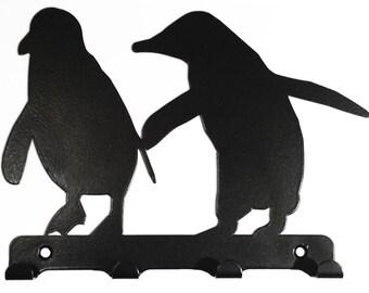 Pair of Penguins Silhouette Key Hook Rack - metal wall art