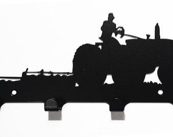 Ploughing Tractor Silhouette Key Hook Rack - metal wall art