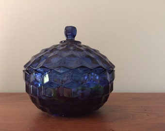 Vintage Glass Cobalt Blue Candy Dish