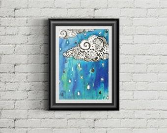 Cloudy Watercolor Print