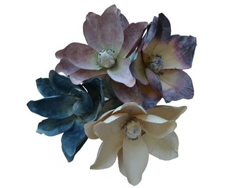 6 Magnolia Stems - Pick the Color - Burgundy, Mauve, Blue - Artificial Latex Flowers - Home Decor (Cream is out of stock)