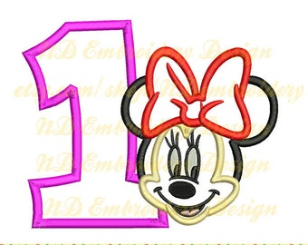 Minnie mouse face embroidery applique 1st birthday design, number 1-9 selection, ms-038-1