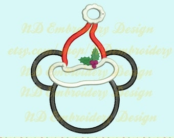 Mickey mouse ears santa applique, Disney Christmas Machine Embroidery Design, digital Mickey patterns, ms-062