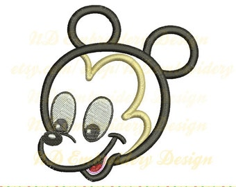 Baby Mickey head applique, Mouse Machine Embroidery Design, ms-076