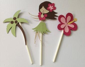 Hula girl cupcake toppers, hula party, hawaiian party, birthday party, summer party, hula girl