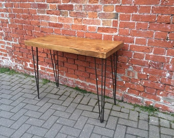 Rustic Industrial Plank Hall Console Table with Metal Hairpin Legs - chunky wood vintage retro