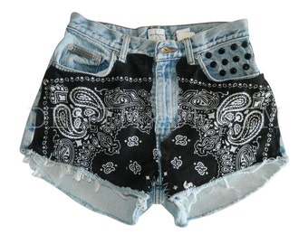 Women's Vintage High Waisted Low Rise Denim Shorts Black Bandana Distressed Jean Shorts Cut Off Custom Levi Wrangler Hipster Festival