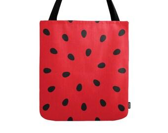 Watermelon tote bag Watermelon bag canvas tote bag red shopping canvas tote red canvas bag gift for her shopping bag shopping tote