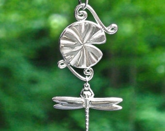 "Custom ""Lilypad & Dragonfly"" Sterling Silver Pendant - Item# LPDFP"