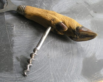 Antique hoof possibly antelope corkscrew and bottle opener