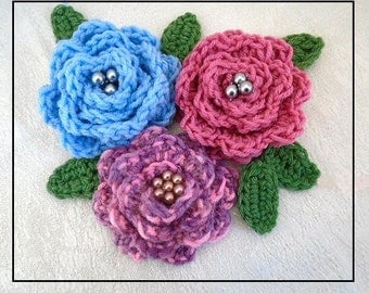 Crochet FLOWER PATTERN, Washington Rose, Flower and leaves, appliques and trims, Sewing and Knitting embellishments, # CF08
