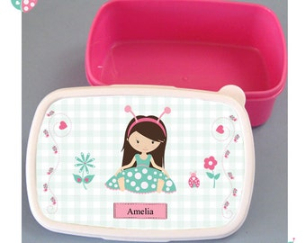 Personalised lunch box, childrens pink lunch box, printed with little green ladybug girl design. made to order, fit for a princess